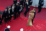 "70eme Festival International du Film de Cannes. Montee de la ceremonie de cloture, vues du toit du Palais . 70th International Cannes Film Festival. Vew from rof top of closing red carpet<br />  Thurman, Uma; Hawke-Thurman, Roan (""Levon"")"