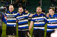 Bath Rugby players look on in a post-match huddle. Aviva Premiership match, between Bath Rugby and Northampton Saints on February 9, 2018 at the Recreation Ground in Bath, England. Photo by: Patrick Khachfe / Onside Images