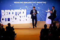 Luigi Di Maio and Giuseppe Conte<br /> Rome January 22nd 2019. Convention of the Movement 5 Stars party to explain the Basic Income Law just approved.<br /> Foto Samantha Zucchi Insidefoto