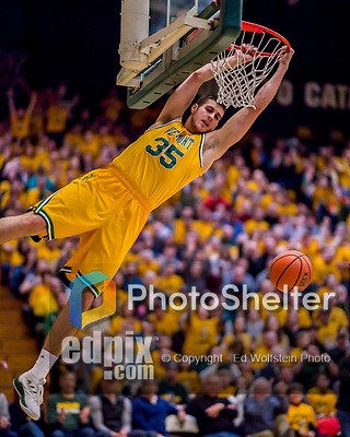 3 March 2018: University of Vermont Forward Payton Henson, a Redshirt Senior from Siloam Springs, AK, lays up a slam dunk early in the first half of the America East quarterfinals against the Maine Black Bears at Patrick Gymnasium in Burlington, Vermont. The Catamounts defeated the Bears 75-60 to move onto the AE semi-finals. Mandatory Credit: Ed Wolfstein Photo *** RAW (NEF) Image File Available ***