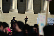 Washington, DC - January 19, 2018: Supreme Court police officers stand watch as tens of thousands of people participate in the annual March for Life in Washington, D.C. January 19, 2018 as they rally at the U.S. Supreme Court.  (Photo by Don Baxter/Media Images International)