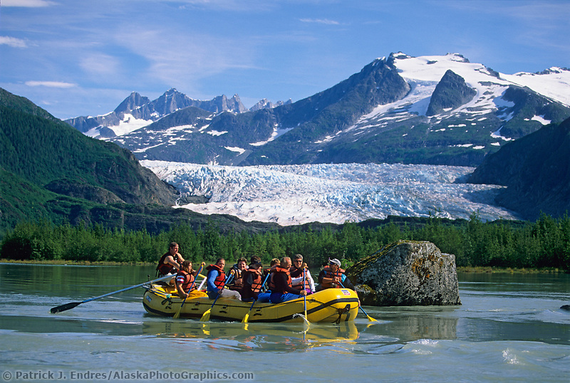 Whitewater Rafting, Mendenhall lake and river, icebergs from Mendenhall glacier, Juneau, Alaska