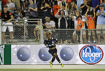 29 May 2012: Carolina's Ty Shipalane (RSA) reacts to scoring the game-tying goal. The Carolina RailHawks (NASL) defeated the Los Angeles Galaxy (MLS) 2-1 at WakeMed Soccer Stadium in Cary, NC in a 2012 Lamar Hunt U.S. Open Cup third round game.