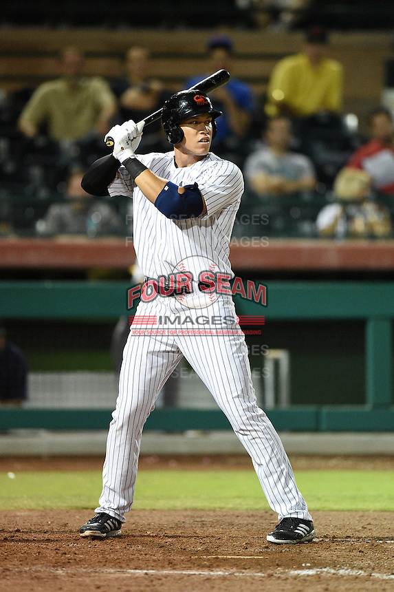 Scottsdale Scorpions outfielder Aaron Judge (47) during an Arizona Fall League game against the Surprise Saguaros on October 15, 2014 at Scottsdale Stadium in Scottsdale, Arizona.  Surprise defeated Scottsdale 13-11.  (Mike Janes/Four Seam Images)