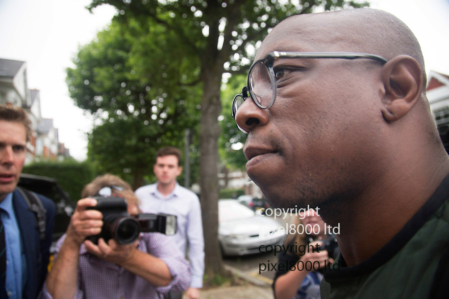 Pic shows: Ian Wright arrives home in North London after jetting in from Rio de Janeiro<br /> <br /> Doorway of home in North West London  of  Ian Wright, former Arsenal and England star, ITV pundit,<br /> The house was apparently burgled and his wife Nancy threatened last night.<br /> <br /> Fingerprint dust is evidence around the doorway where apparently there was struggle as his wife tried to stop the intruders entering.<br /> <br /> 19.6.14<br /> <br /> <br /> <br /> <br /> Pic by Gavin Rodgers/Pixel 8000 Ltd
