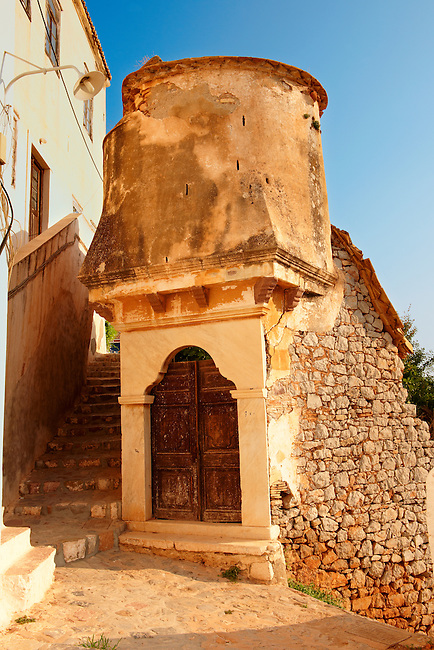 Fortified doorway of one of the Mansions of Hydra, Greek Cylades Islands