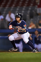 Connecticut Tigers third baseman Jose Zambrano (28) lays down a bunt during the second game of a doubleheader against the Brooklyn Cyclones on September 2, 2015 at Senator Thomas J. Dodd Memorial Stadium in Norwich, Connecticut.  Connecticut defeated Brooklyn 2-1.  (Mike Janes/Four Seam Images)