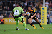 Carlo Festuccia of Wasps faces up to Salesi Ma'afu of Northampton Saints during the Premiership Rugby Round 2 match between Wasps and Northampton Saints at Adams Park on Sunday 14th September 2014 (Photo by Rob Munro)