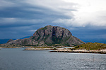 Torghatten granite mountain with a hole through it, Torget island, Brønnøy, Nordland county, Norway