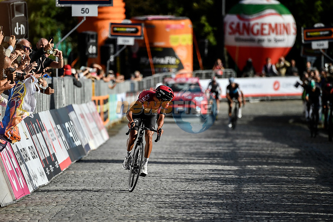 Egan Bernal (COL) Team Ineos wins the 103rd edition of GranPiemonte 2019 running 183km from Aglie to Santuario di Oropa (Biella), Italy. 10th Octobre 2019. <br /> Picture: Marco Alpozzi/LaPresse | Cyclefile<br /> <br /> All photos usage must carry mandatory copyright credit (© Cyclefile | LaPresse/Marco Alpozzi)