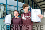 Tiernan Brosnan and Michael O'Gara, who received their Junior Certificate results on Wednesday morning last at Mercy Mounthawk Secondary School, Tralee.