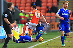 Blackpool?s Darren O?Dea appears to stand on the back of Forest's Dexter Blackstock - Blackpool vs. Nottingham Forest - Skybet Championship - Bloomfield Road - Blackpool - 14/02/2015 Pic Philip Oldham/Sportimage