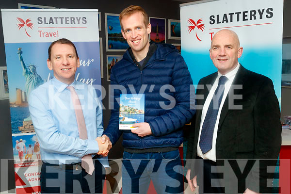 Kerry's Eye/Slatterys Travel €1,500 Holiday Winner Liam O'Sullivan, Listowel pictures with David Slattery, Slatterys Travel and Brendan Kennelly, Kerry's Eye.
