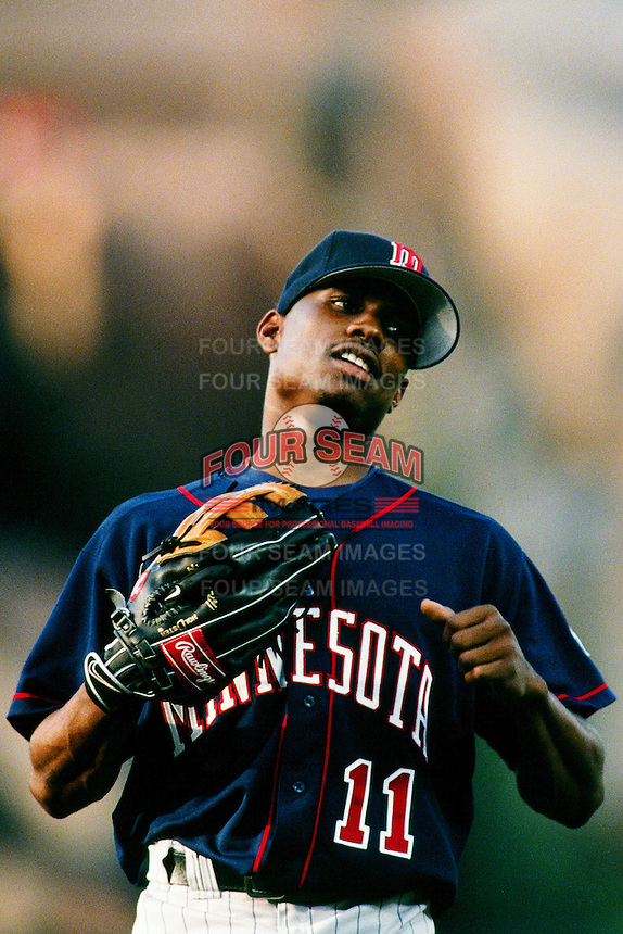 Jacque Jones of the Minnesota Twins during a game against the Anaheim Angels at Angel Stadium circa 1999 in Anaheim, California. (Larry Goren/Four Seam Images)