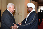 Palestinian President Mahmoud Abbas meets with Sudanese President Omar al-Bashir in Moscow on July 14, 2018. Photo by Thaer Ganaim