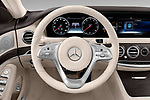 Car pictures of steering wheel view of a 2018 Mercedes Benz S-Class 450 4 Door Sedan Steering Wheel