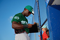 Daytona Tortugas designated hitter Taylor Trammell (5) signs autographs for fans before a game against the St. Lucie Mets on August 3, 2018 at First Data Field in Port St. Lucie, Florida.  Daytona defeated St. Lucie 3-2.  (Mike Janes/Four Seam Images)