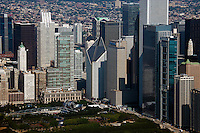 aerial photograph Millenium Park, downtown Chicago, Illinois