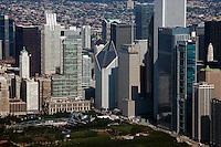 aerial photograph Millenium Park, downtown Chicago, Illinois