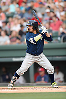 Right fielder Jay Jabs (7) of the Columbia Fireflies bats in a game against the Greenville Drive on Wednesday, June 14, 2017, at Fluor Field at the West End in Greenville, South Carolina. Columbia won, 6-2, in 11 innings. (Tom Priddy/Four Seam Images)