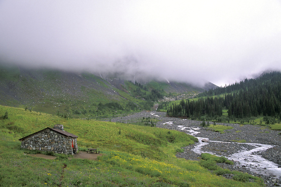 Indian Bar shelter and Ohanapecosh River, Mount Rainier National Park, Washington