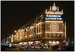 Main store of the Galeries Lafayette, Paris, seen at night