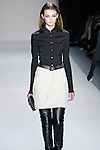 Andie Arthur walks the runway in a Nicole Miller Fall 2011 outfit, during Mercedes-Benz Fashion Week.