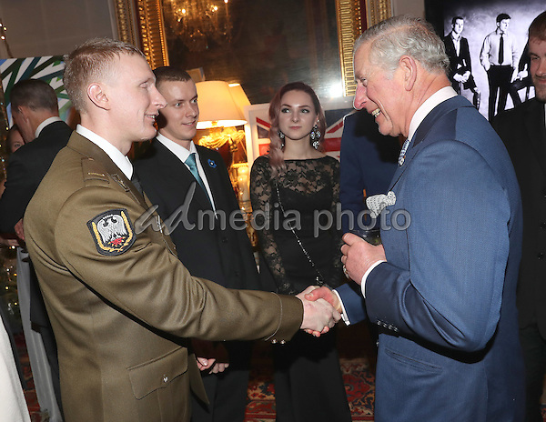 14 December 2016 - Prince Charles, Prince of Wales chats with soldiers at the Style for Soldiers Christmas Reunion Party at Spencer House in London. The Prince of Wales met injured servicemen and women who have been helped by the charity, and others who have supported them. His Royal Highness will also meet some of the charity's patrons and ambassadors. Photo Credit: Alpha Press/AdMedia