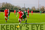 Cork's Mark Brosnan  and Kerry's Dillon Robinson in the  SSE Airtricity U17 League of Ireland Kerry  V  Cork City at Mounthawk Park on Sunday