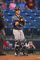 Pensacola Blue Wahoos catcher Cam Maron (9) during a game against the Mississippi Braves on May 28, 2015 at Trustmark Park in Pearl, Mississippi.  Mississippi  defeated Pensacola 4-2.  (Mike Janes/Four Seam Images)