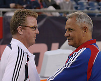 New England Revolution head coach Steve Nicol greets FC Dallas head coach Schellas Hyndman before the game.  The New England Revolution drew FC Dallas 1-1, at Gillette Stadium on May 1, 2010