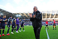Alan Curtis, assistant coach for Swansea city is given a guard of honour during the Sky Bet Championship match between Swansea City and Derby County at the Liberty Stadium in Swansea, Wales, UK. Wednesday 01 May 2019