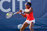 Washington, DC - August 3, 2019:  Coco Gauff (USA) hits a forehand shot during the  Women Doubles finals at William H.G. FitzGerald Tennis Center in Washington, DC  August 3, 2019.  (Photo by Elliott Brown/Media Images International)