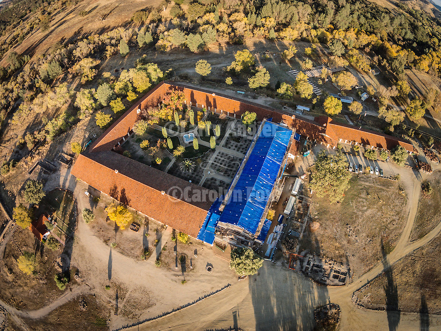 Aerial photos from small r/c drone, Historic Mission San Antonio de Padua and central courtyard, 3rd of the Father Serra Mission, 1771, Monterey County, Calif.<br /> <br /> Fall 2014 earthquake retrofit