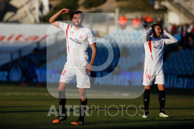 Sevilla´s Iborra and Iago Aspas react during 2014-15 La Liga match at Alfonso Perez Coliseum stadium in Getafe, Spain. February 08, 2015. (ALTERPHOTOS/Victor Blanco)