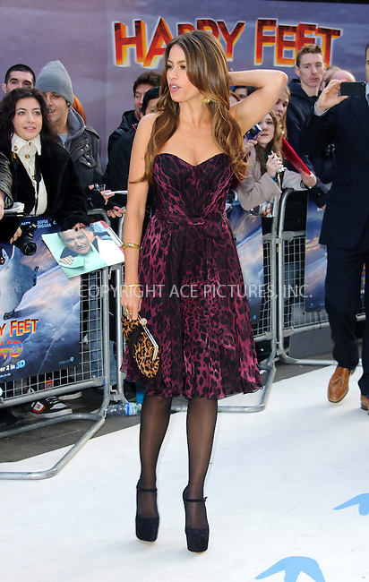 WWW.ACEPIXS.COM . . . . .  ..... . . . . US SALES ONLY . . . . .....November 20 2011, London....Sofia Vergara at the European premiere of 'Hapy Feet Two' at the Empire Leicester Sqaure on November 20 2011 in London....Please byline: FAMOUS-ACE PICTURES... . . . .  ....Ace Pictures, Inc:  ..Tel: (212) 243-8787..e-mail: info@acepixs.com..web: http://www.acepixs.com