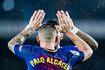 Francisco Alcacer Garcia, Paco Alcacer, of FC Barcelona celebrates after scoring his goal with teammate during the La Liga 2017-18 match between FC Barcelona and Sevilla FC at Camp Nou on November 04 2017 in Barcelona, Spain. Photo by Vicens Gimenez / Power Sport Images