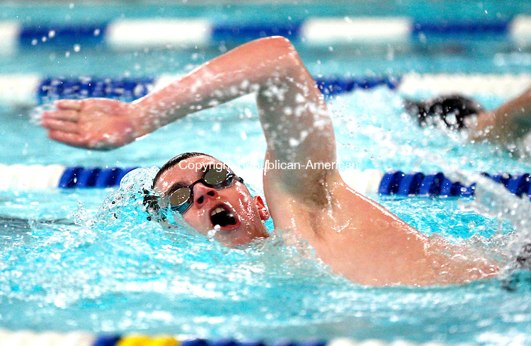 Washington, CT- 18 February 2015-021815CM07-  Northwestern's Mitchell Gryniuk competes in the 200 yard freestyle during a meet against Shepaug in Washington on Wednesday. Gynuik placed second in the event.   Christopher Massa Republican-American