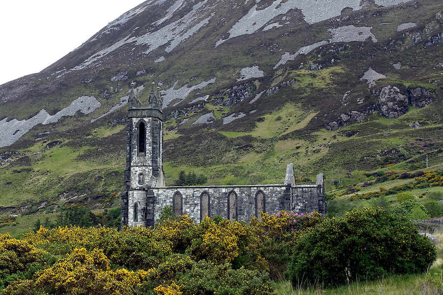 Dunlewey Church, County Donegal, Ireland. Dunlewey is an abandoned church overlooking the Poisoned Glen at the foot of Errigal.