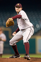 Arizona State's Dustin Brader (43) winds up to deliver a pitch versus Vanderbilt at the 2007 Houston College Classic at Minute Maid Park in Houston, TX, Saturday, February 10, 2007.  The Commodores defeated the Sun Devils 7-6 in 10 innings.