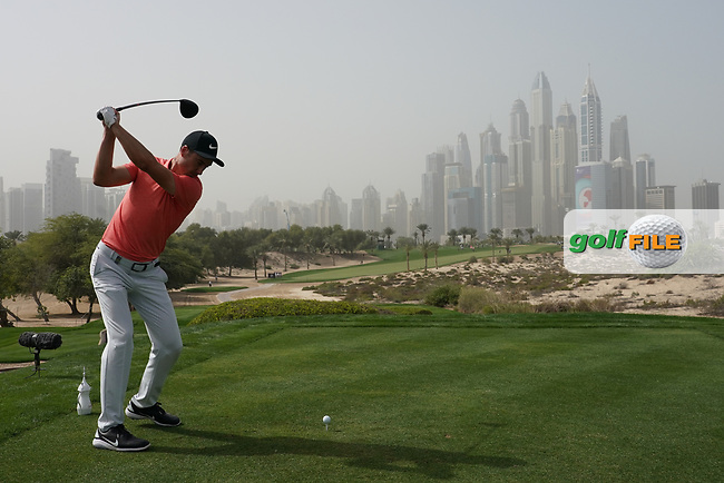 Ross Fisher (ENG) in action on the 8th tee during the first round of the Omega Dubai Desert Classic, Emirates Golf Club, Dubai, UAE. 24/01/2019<br /> Picture: Golffile | Phil Inglis<br /> <br /> <br /> All photo usage must carry mandatory copyright credit (&copy; Golffile | Phil Inglis)