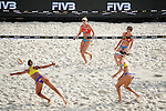 ST. PETERSBURG, FL - JUNE 18: General view of Agatha/Barbara of Brazil against Branagh/Fopma of the USA during the FIVB Beach Volleyball World Tour St. Petersburg Grand Slam presented by the AVP on June 18, 2015 at Spa Beach in St. Petersburg, Florida. (Photo by Donald Miralle for the AVP)