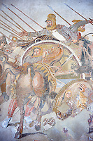 King Darius from the Roman mosaic  of Battle beween Alexander the Great and Persian King Darius, 120-125 BC, Casa del Fauno, Pompeii, inv 10020, Naples National Archaeological Museum