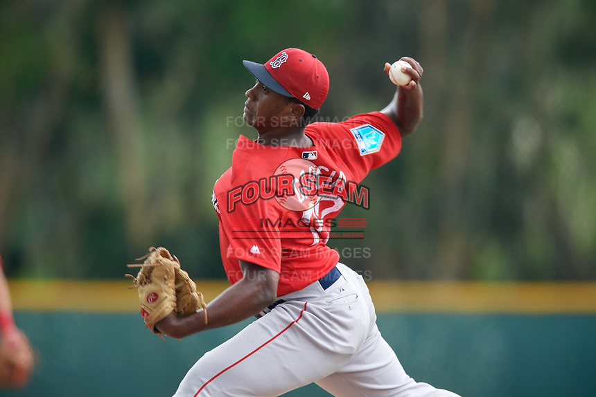 Boston Red Sox pitcher Victor Garcia (72) during a Minor League Spring Training game against the Baltimore Orioles on March 20, 2018 at Buck O'Neil Complex in Sarasota, Florida.  (Mike Janes/Four Seam Images)