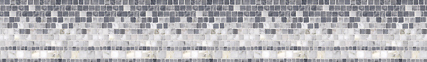 "6"" Cecil border, a hand-cut mosaic shown in polished Bardiglio, Calacatta Tia, and Carrara by New Ravenna."