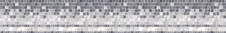 "6"" Cecil border, a hand-cut mosaic shown in polished Bardiglio, Calacatta Tia, and Carrara by New Ravenna."