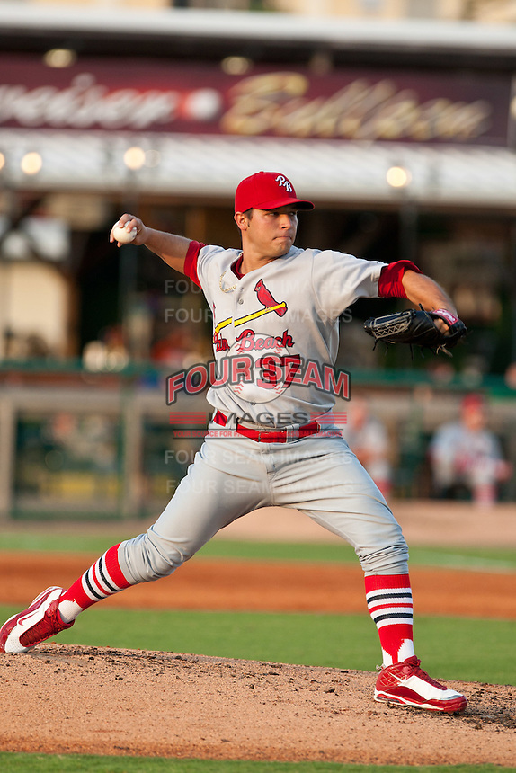 Richard Castillo of the Palm Beach Cardinals during the game at Jackie Robinson Ballpark in Daytona Beach, Florida on July 30, 2010. Photo By Scott Jontes/Four Seam Images