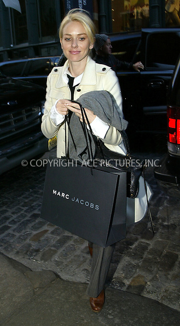 Actress Naomi Watts arriving back at her hotel after shopping at Marc Jacobs store. New York, February 11, 2003. Please byline: ACE Pictures.   ..*PAY-PER-USE*      ....IMPORTANT: Please note that our old trade name, NEW YORK PHOTO PRESS (NYPP), is replaced by our new name, ACE PICTURES. New York Photo Press and ACE Pictures are owned by All Celebrity Entertainment, Inc.......All Celebrity Entertainment, Inc:  ..contact: Alecsey Boldeskul (646) 267-6913 ..Philip Vaughan (646) 769-0430..e-mail: info@nyphotopress.com