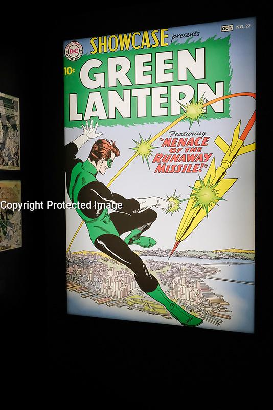 EXPOSITION DC COMICS 'L'AUBE DES SUPER-HEROS' A ART LUDIQUE-LE MUSEE, PARIS, FRANCE, LE 31/03/2017.