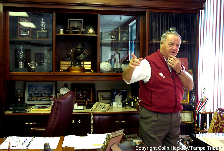 TALLAHASSEE, FL. 12/14/07-Florida State Football Coach Bobby Bowden talks about his favorite bowl appearances during an interview Friday in Tallahassee. FSU's appearance in the Music City Bowl on Jan. 1 will mark the 26th time Bowden has taken the  Seminoles to a post-season game. With that game Bowden will pass former Nebraska Coach Tom Osborne's to hold the record for taking one school to the most consecutive bowl games. COLIN HACKLEY PHOTO